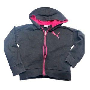 🔑5/$30 Puma Little Girls Hoodie Black & Pink 6